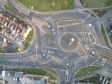 A traditional roundabout situated in the village of Alesmulberry, Somerset.