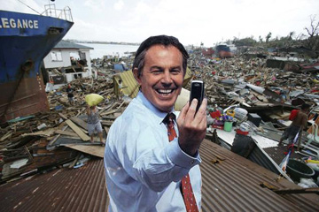 Tony Blair taking a selfie whilst on the recent tour of the Philippines