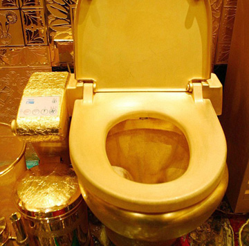 N. Ron Hubbub's golden throne where all of Scatology religion's followers worship