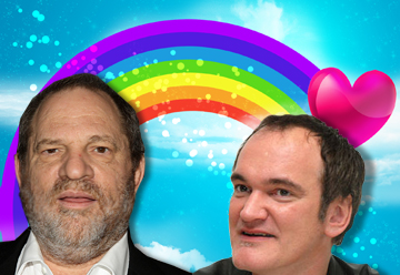 Harvey Weinstein and Quentin Tarantino on a promotional poster for the new Care Bears film