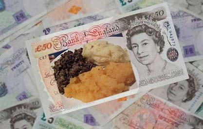 Haggis, neeps and tatties not on the menu with this English pound note