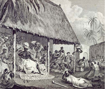 The King of Dahomey receives European traders at his court to buy African slaves, 1793