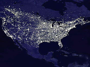 USA night satellite image