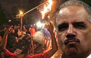 Ferguson-burning-flag-eric-holder