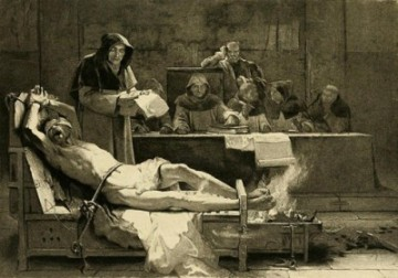 Catholics torturing a 'heretic' by burning his feet