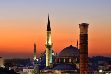 Atik Ali Pasha Mosque and the Column of Constantine or Burnt Column, Cemberlitas, Istanbul, European side, Istanbul Province