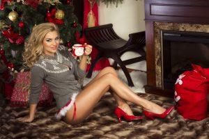 Happy woman , christmas time