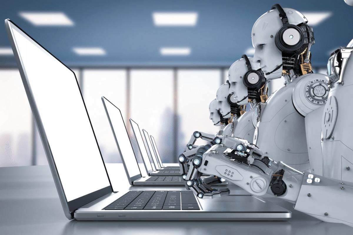 globalist robot office workers
