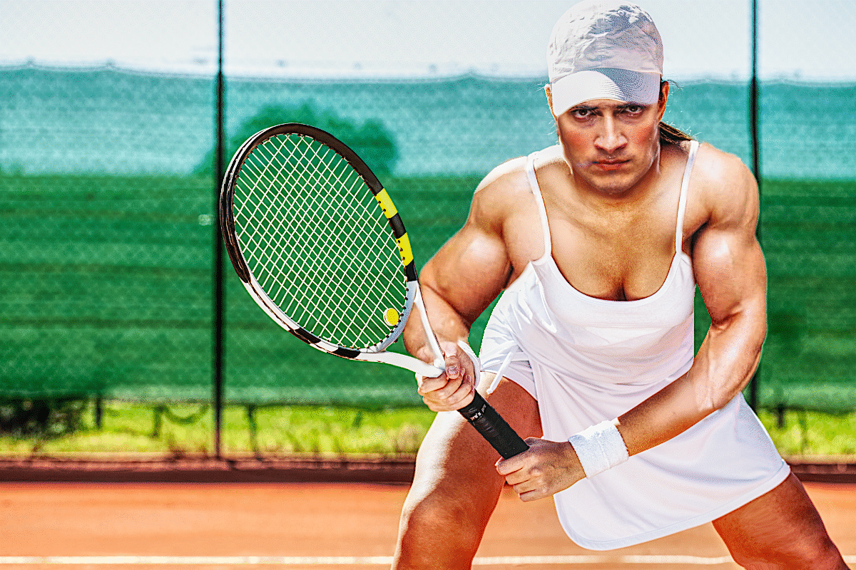 trans woman tennis player with makeup