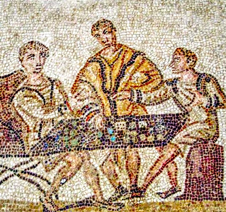 gambling in ancient rome mosaic