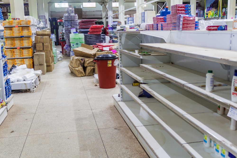 Empty shelves in venezuelan supermarket