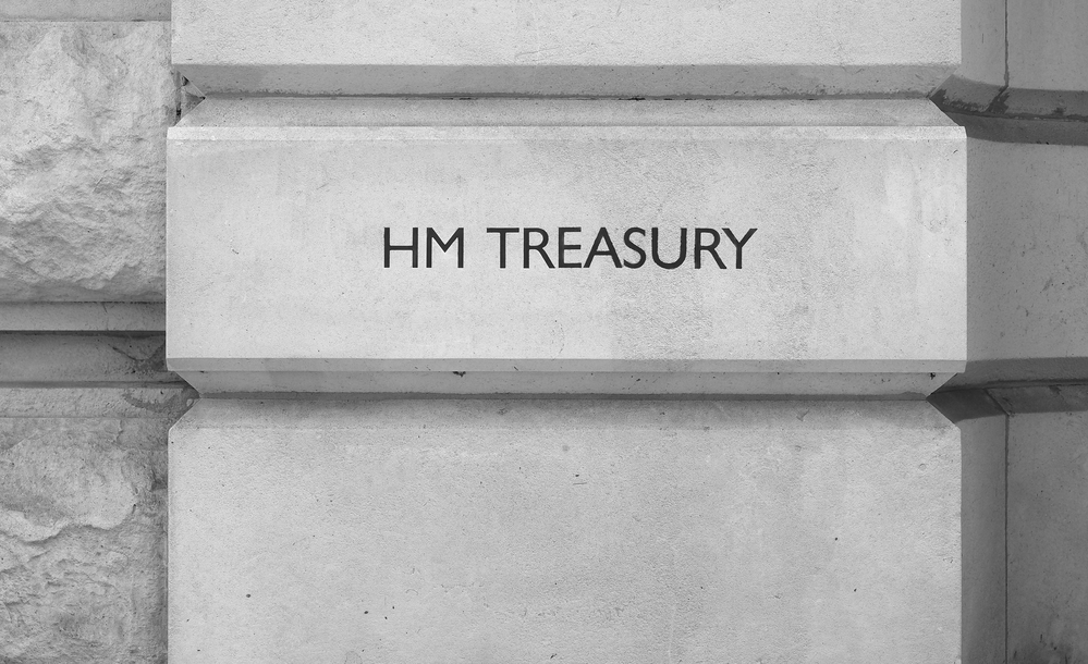 HM Treasury sign in London, black and white