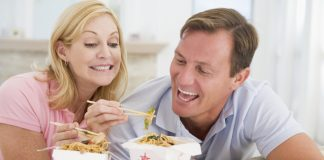 Couple Eating Takeaway CHINESE FOOD