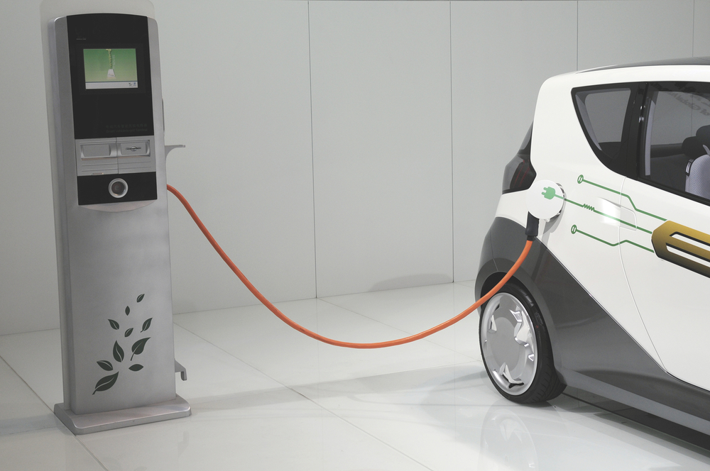 Electric cars in charging station