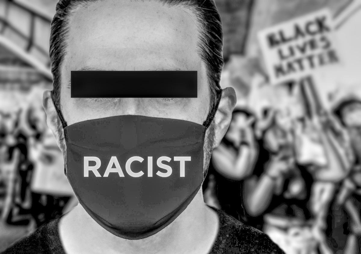RACIST BLACK MASK WHITE PERSON